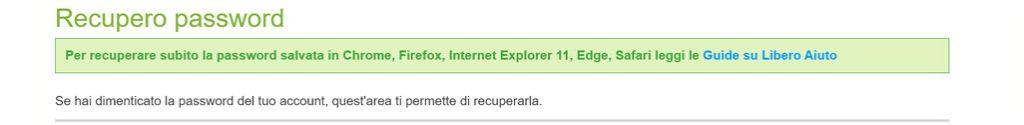 recuperare password libero